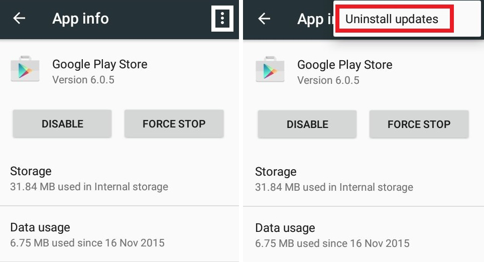 fix error 927 by uninstalling google play updates