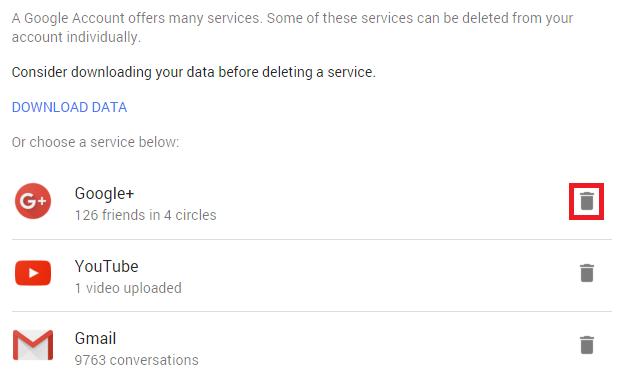delete google plus account