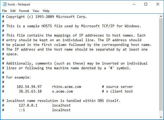 normal hosts file