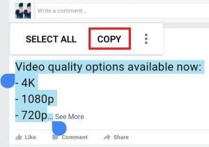 copy facebook status