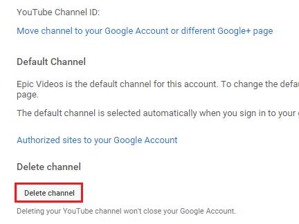 delete your YouTube account