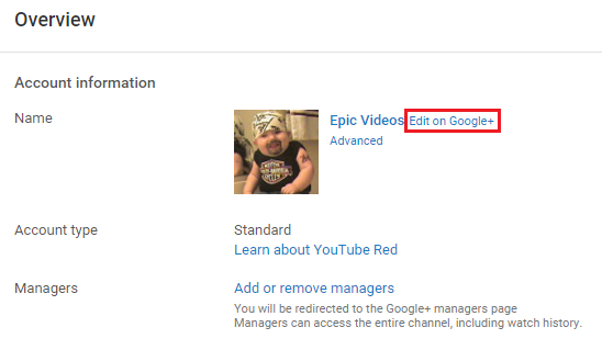 edit your Youtube channel name on google plus