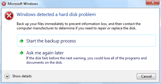 Windows Detected a Hard Disk Problem Error Message