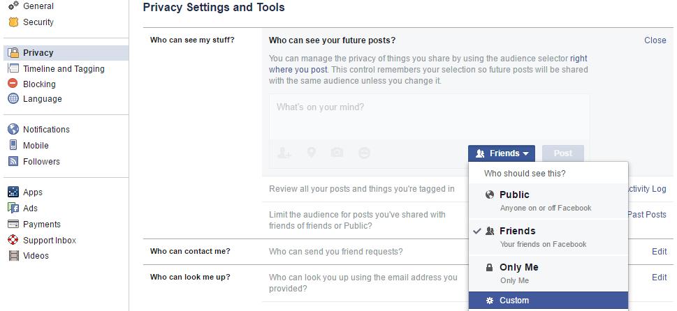 custom privacy through settings