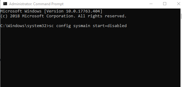 disable superfetch using command prompt