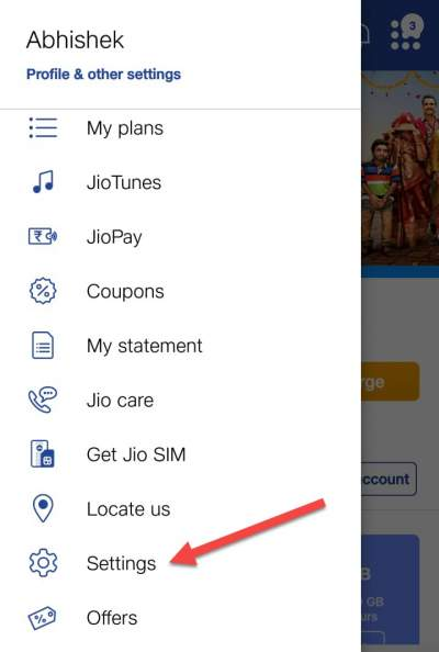 My jio app setting
