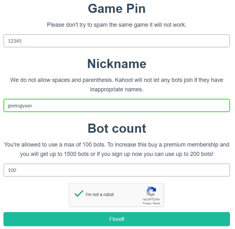 Kahoot hack bot