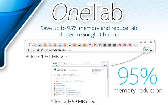 One-Tab - Reduce Chrome Memory Usage