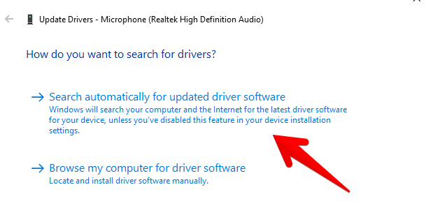 update microphone drivers
