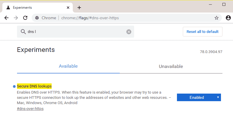 enable-DOH-in-chrome