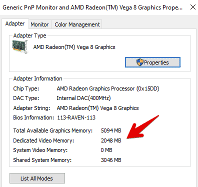 How To Check Video RAM Using Display Adapter