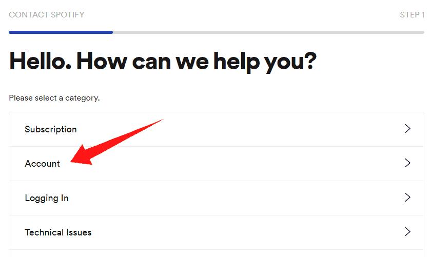 Spotify account option