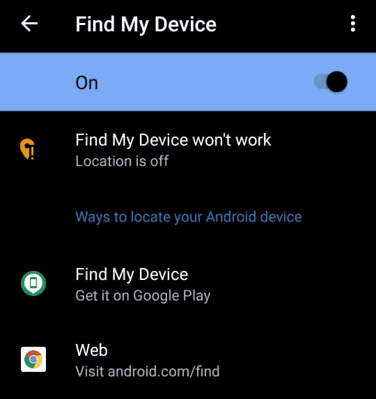 find my device setting