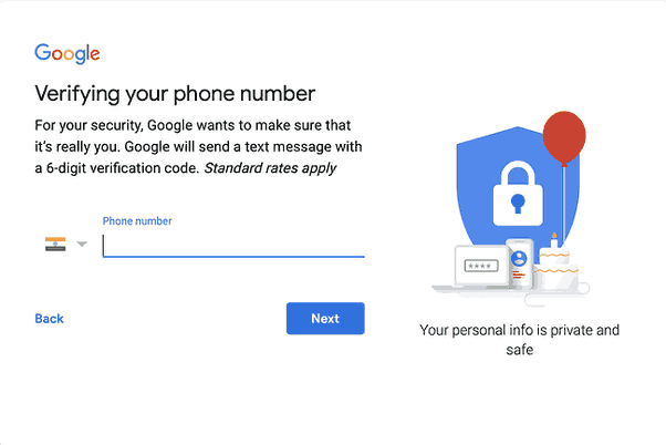how to skip adding phone number to gmail