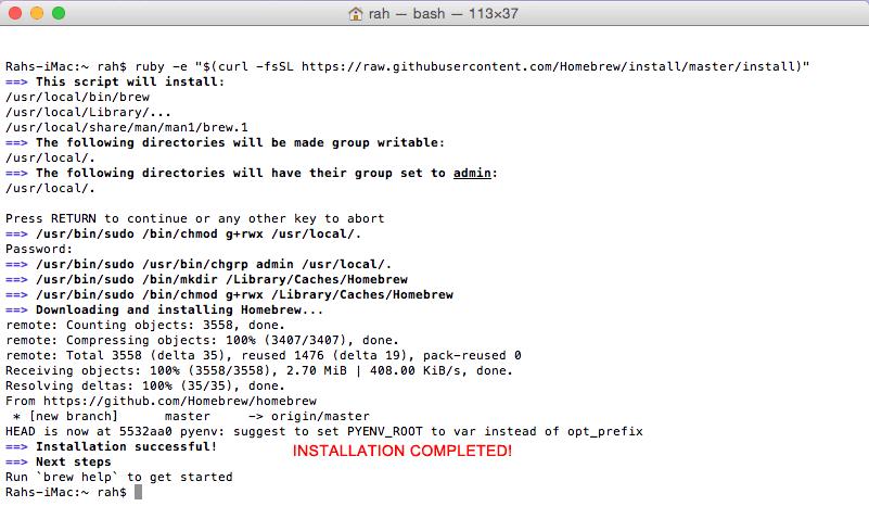 Install Homebrew on mac