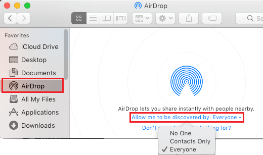 Airdrop not working: allow to be discovered by everyone airdrop option mac