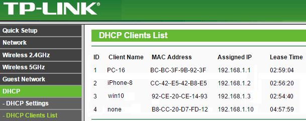WIFI DHCP client list
