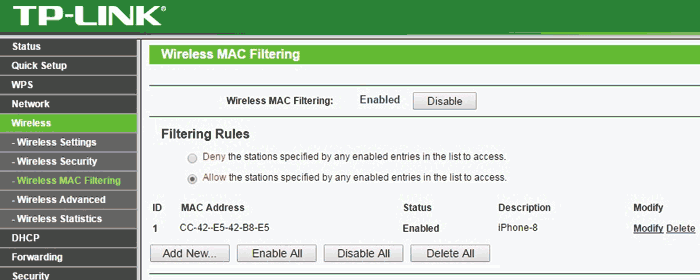 WIFI Mac filtering