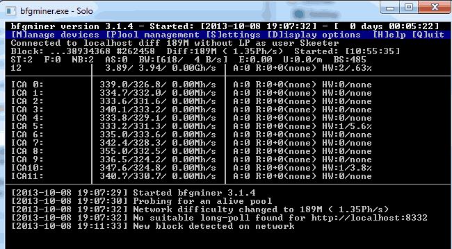 BFGMiner: bitcoin mining software for laptop