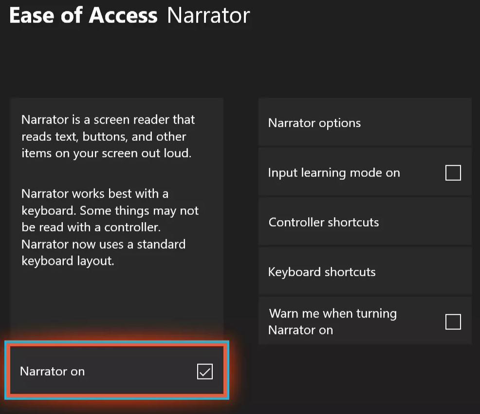 turn off narrator on xbox