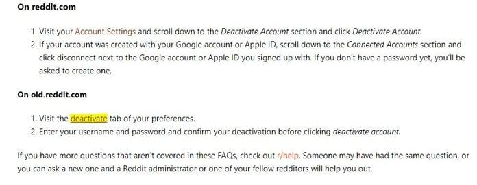 deactivate pc reddit